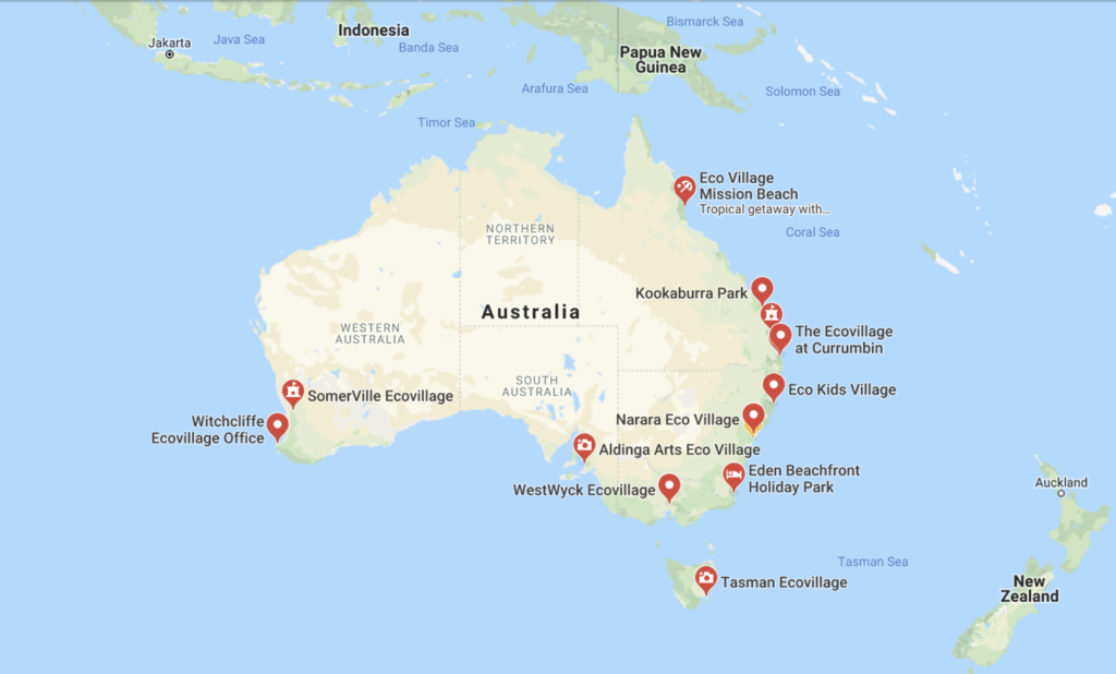 Eco Villages Australia Map